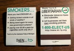 Matchbooks targetting oppressed smokers used mi.lp.org which was recently deactivated.