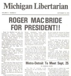 Most issues of the Michigan Libertarian are archived.