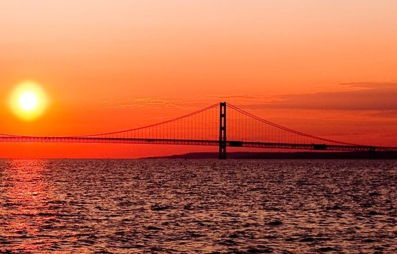 Mackinac Bridge spanning the Straights of Mackinac