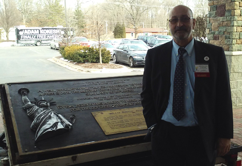 Jay P. Gillotte and the Brass Roots Plaque at the March 10 2018 Summit.