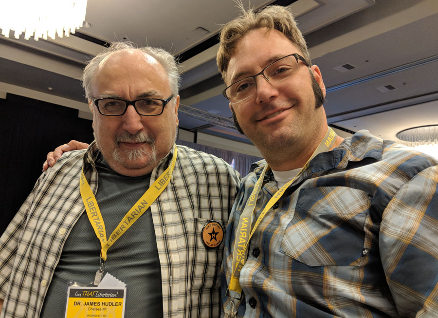"""Jim Hudler (Left) & Greg Stempfle (Right) at """"That Libertarian"""" Convention in New Orleans. Photo be Greg Stempfle."""