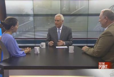 "Bill Gelineau and Angelique Chaiser Thomas appear on the WOOD TV program, ""To The Point."""