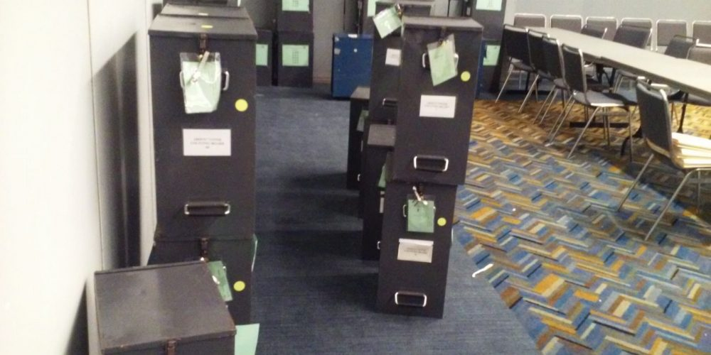Ballot Boxes Before Proposal R Recount.