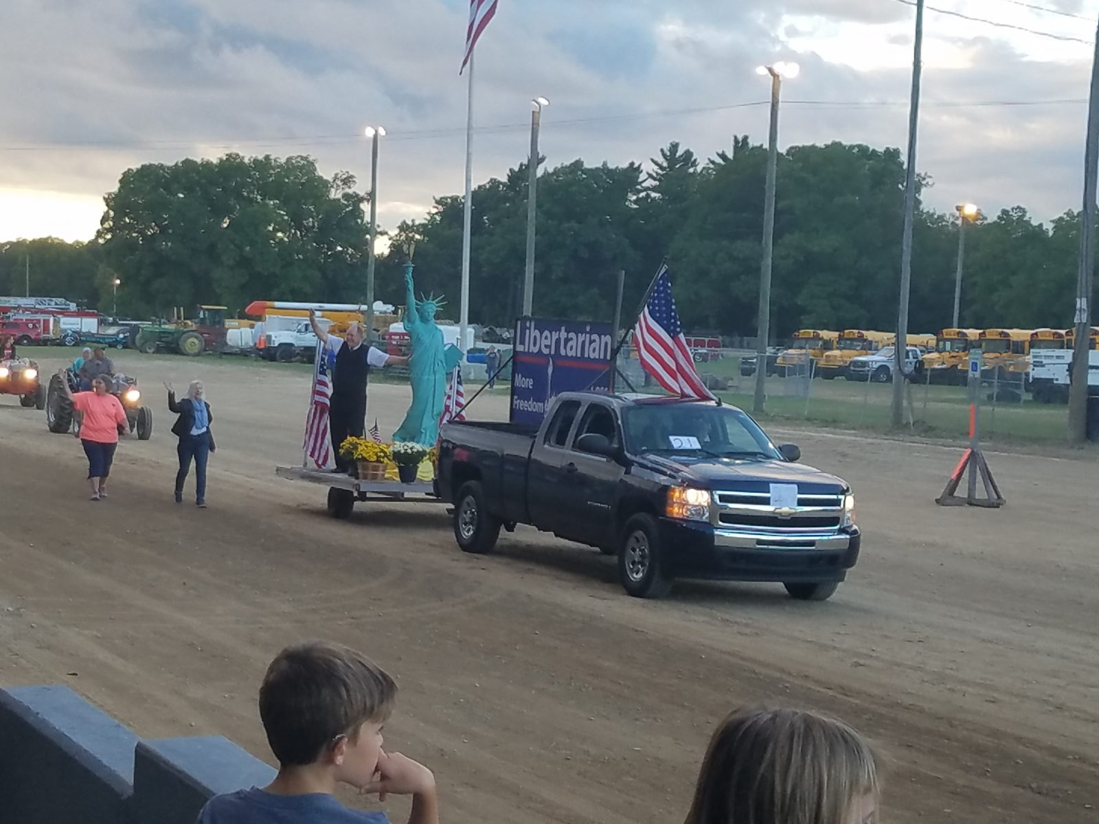 Bill Gelineau rode the LPWM float around at the Allegan Fair with Mary Buzuma folowing on foot.  Photo by Arnis Davidsons.