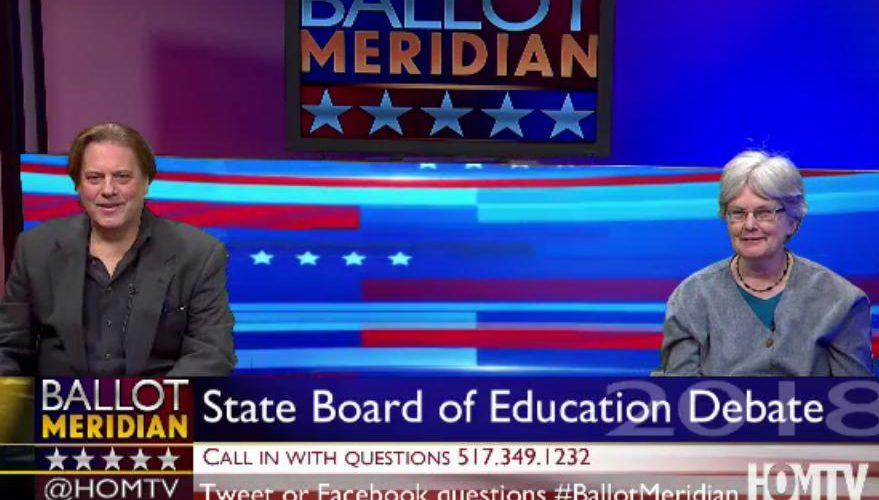 Scotty Boman (Left) and Sherri Wells (Right) face of in the only live televised debate of Board of Education candidates.