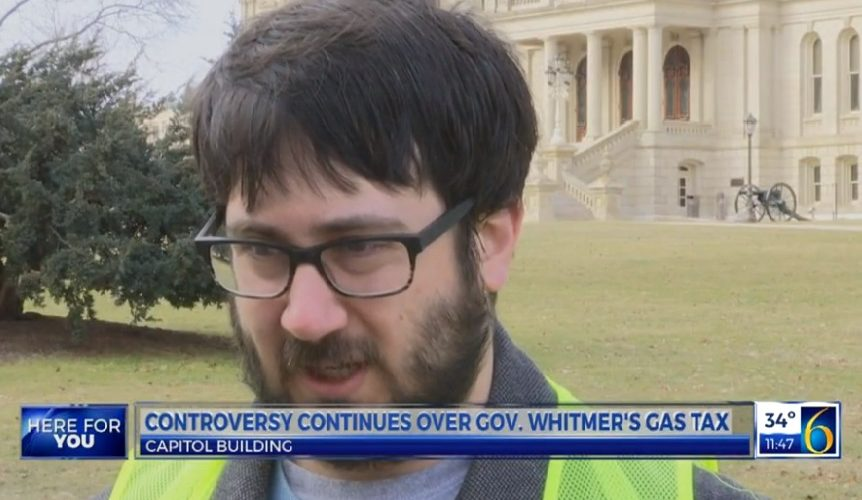 Luke Sciberras being interviewed by WLNS at the Capital Area LP taxes protest outside the Michigan Capitol.