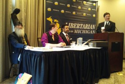 Social Media. The Libertarian Party of Michigan 2019 Presidential Debate. From Left: Vermin Supreme, Chris Marks, and Arvin Vohra.