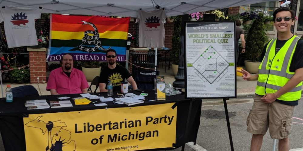 Libertarian Party of Oakland County outreach table at Ferndale Pride Fest. Photo by Greg Stempfle.
