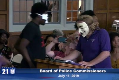 Scotty Boman speaks on the abuse of facial recognition technology at the July 11th Board of Police Commissioners meeting in Detroit.