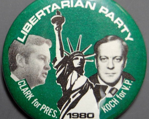 Ed Clark and David Koch 1980 Presidential campaign button.