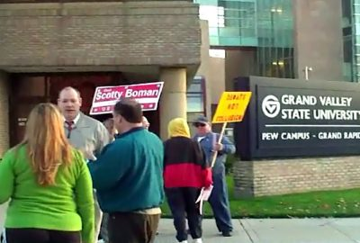 Libertarians protest exclusion from 2008 US Senate Debates at the Grand Valley State University Eberhard Center.