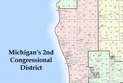 Michigan's Second Congressional District. Cropped from public domain Wikimedia image.