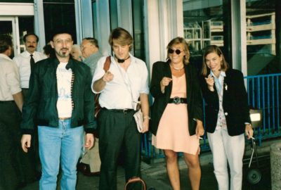 """John Hancock """"We want Yours"""" (1994 Ballot access restoration) Committee after the 1994 LPM Convention in Salt Lake City Utah. Photo by Art Gulich. James Hudler, Scotty Boman, Barb Vozenilek (left to right). Scotty and Emily are now on the Historical Commission."""