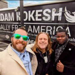 Presidential Candidate Adam Kokesh with Scotty Boman and Detroit Police Commissioner Willie Burton in the DPD HQ parking lot on St. Patric's Day 2020.