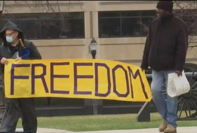 "LP Groups: Scotty Boman and Gregory Creswell escort ""Freedom"" banner to the Capitol."