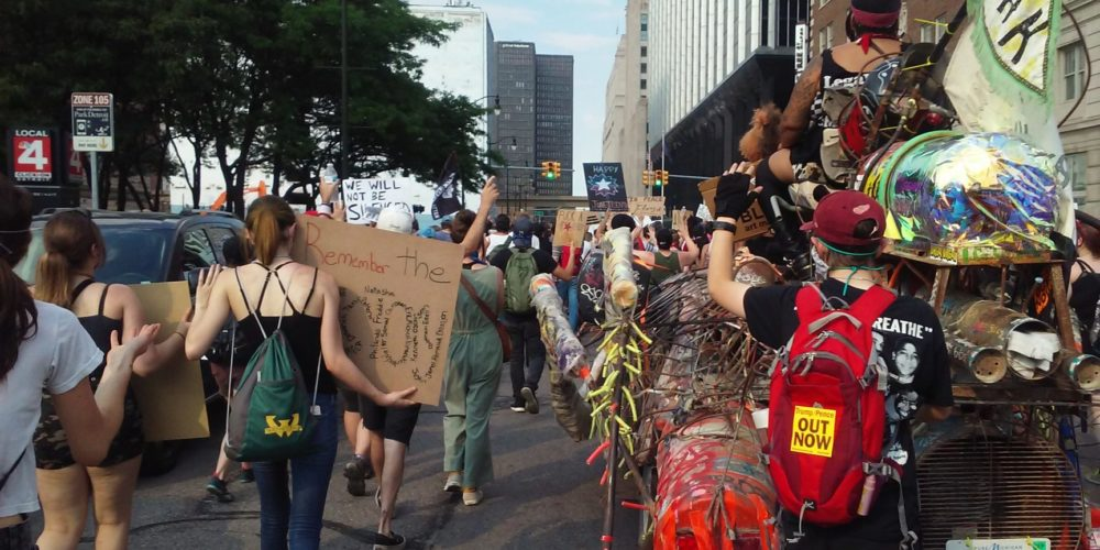 Police brutality was the target of this Juneteenth protest in Detroit. Photo by Scotty Boman