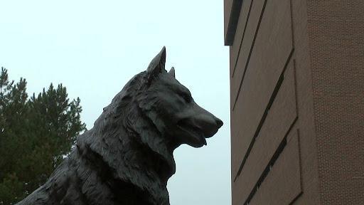 Michigan Technological University statue.